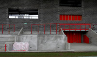 New dugouts and tunnel area in progress. Ebbsfleet United v Dartford